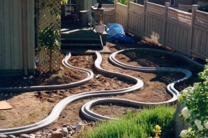 An intricate layout is no problem to a Kwik Kerb operator.
