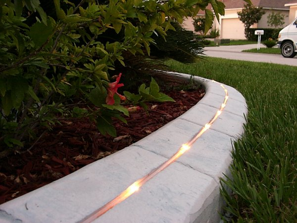 integrated kerblight gives a whole new look to your garden at night