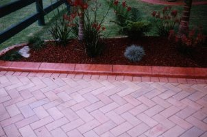 This terracotta EuroStyle curb looks great beside pavers!